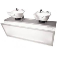 Double Pearl Backwash PRL54-2 With 2 Tilting Porcelain Enamel Shampoo Bowls
