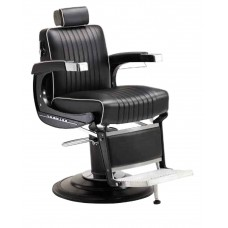 Black Elegance Elite BB-225BLK Barber Chair With K25 Barber Base In Black Powder Coat Finish