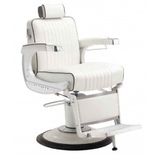 White Elegance Elite BB-225WHT Barber Chair With K25 Barber Base In White Powder Coat Finish