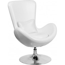 Free Shipping 0889W White Egg Style Half Side Reception Chair