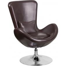 Free Shipping 0889BR Espresso Egg Style Half Side Reception Chair