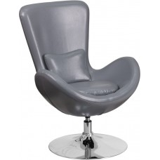 Free Shipping 0889G Grey Egg Style Half Side Reception Chair