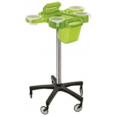 Service Plus Green Hair Coloring Trolley With Foiler & Trash Can Large Wheels Friom Ceriotti, Italy