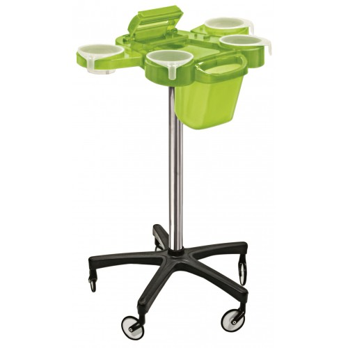 Service Plus Green Hair Coloring Trolley With Foiler & Trash Can Large Wheels From Ceriotti, Italy