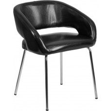 Free Ship Fusion Black Leather Reception Chairs High Quality Low Cost