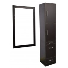 Italica 6066 Tower Hair Styling Station With Tilt Out Tool Panel Black or Dark Chocolate With Optional Mirror