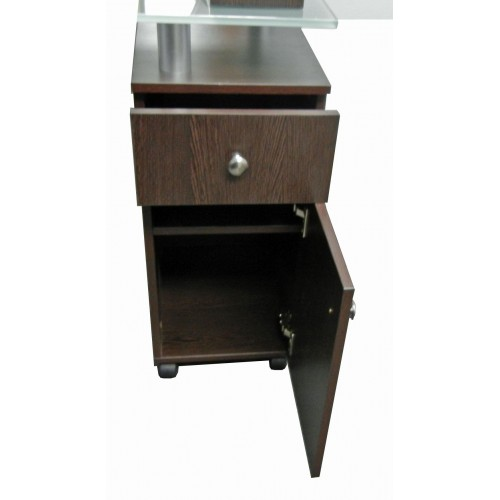 GREAT PRICE! NT053 Glass Top Dark Wood Nail Table With Armrest From Italica