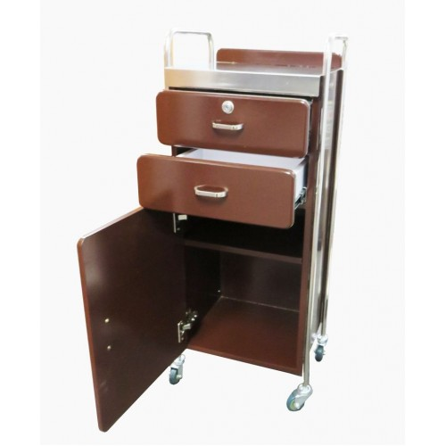 Beauty Trolley PT05 All Purpose Locking Stainless Top Steel Rims