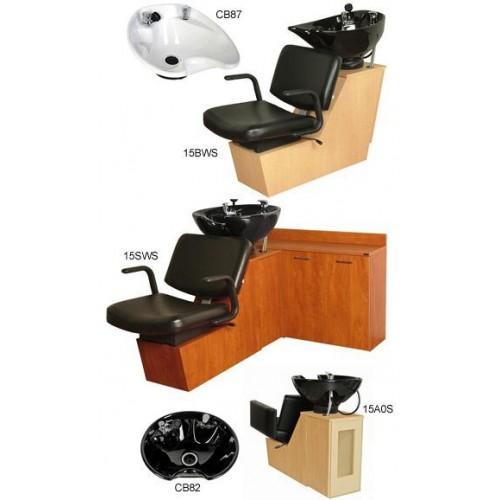 Collins 15BWS Monte Shuttle Backwash Sliding Chair Tilting Porcelain Shampoo Bowl