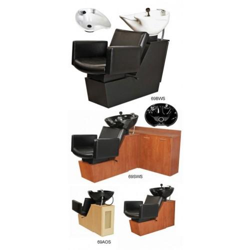 Collins 69SWS Cigno Shuttle Sidewash Sliding Chair Tilting Shampoo Bowl Plus Storage Cabinets