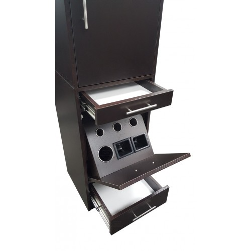 ITALICA CS6066 Tower Hair Styling Station With Tilt Out Tool Panel Black or Dark Chocolate