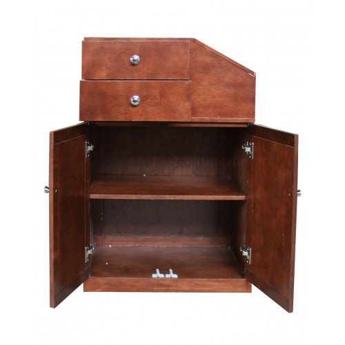 TOTALLY GREAT DEAL- 5001 Real Wood Hair Styling Station  Cherry Wood Veneer On Hidden Wheels  In Stock