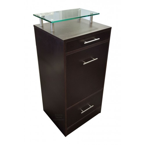 Italica 6068GL Charlie Half Glass Top Styling Station With Tilt Out Tool Panel Black or Dark Chocolate